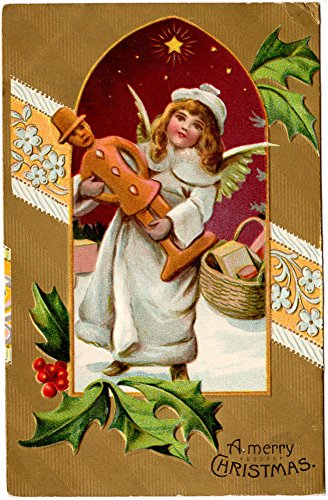 Christmas Postcard Angel Girl with a Man Statue and Basket of Goodies