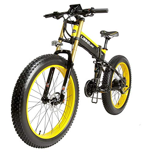 LANKELEISI T750PLUS 26'' Fat Wheel Folding Electric Bicycle 48V 14Ah Shimano 27 Speed Full Suspension Snow Mountain MTB E-Bike,Dual Hydraulic Disc Brake (Yellow, 1000W)