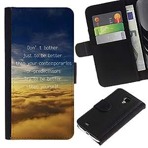 iKiki Tech / Cartera Funda Carcasa - Better Predecessors Yourself Quote Motivational - Samsung Galaxy S4 Mini i9190 MINI VERSION!