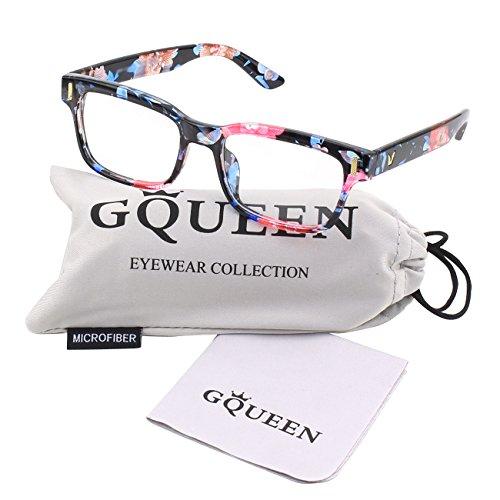 épais moderne lentille clair Floral PE4 Color GQUEEN cadre Mode lunettes rectangulaire YFwqntxB