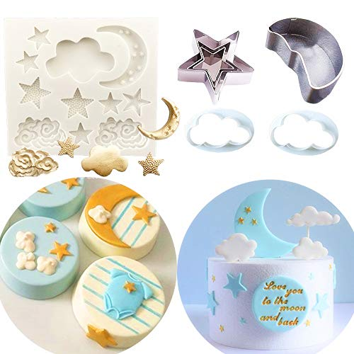 Set of 10 JeVenis Twinkle Twinkle Little Star Cake Decoration Stars Mold Cloud Mold Moon Mold for 1st Birthday Cake Decoration First birthday Cake Topper ()