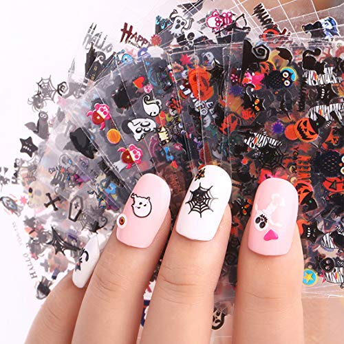 Halloween Nail Decals Stickers, 24 Sheets 3D Nail Art Decals Self-adhesive DIY Nail Art Tips Stencil for Halloween Party (Halloween ()