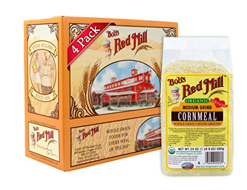 Bob's Red Mill Organic Medium Grind Cornmeal, 24 Oz (4 Pack)
