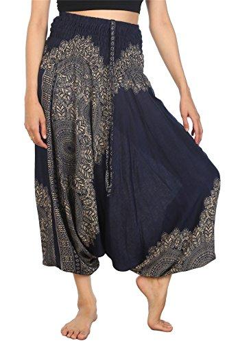 Lofbaz Women's Peacock Smocked Waist 2 in 1 Harem Jumpsuit Pants Dark Blue - Gypsy Belly Hippie Dance