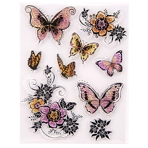 Butterfly and Flower Clear Stamps for Card Making Decoration and DIY Scrapbooking
