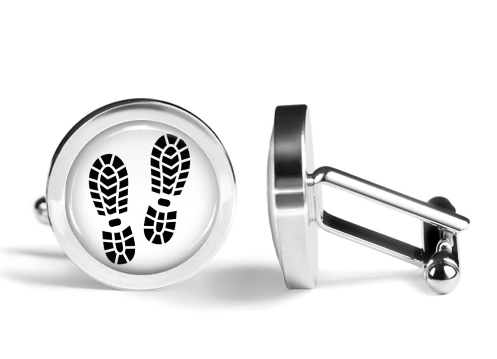 Footprint Cufflinks Boot Print Cuff Links (Angled Edition)