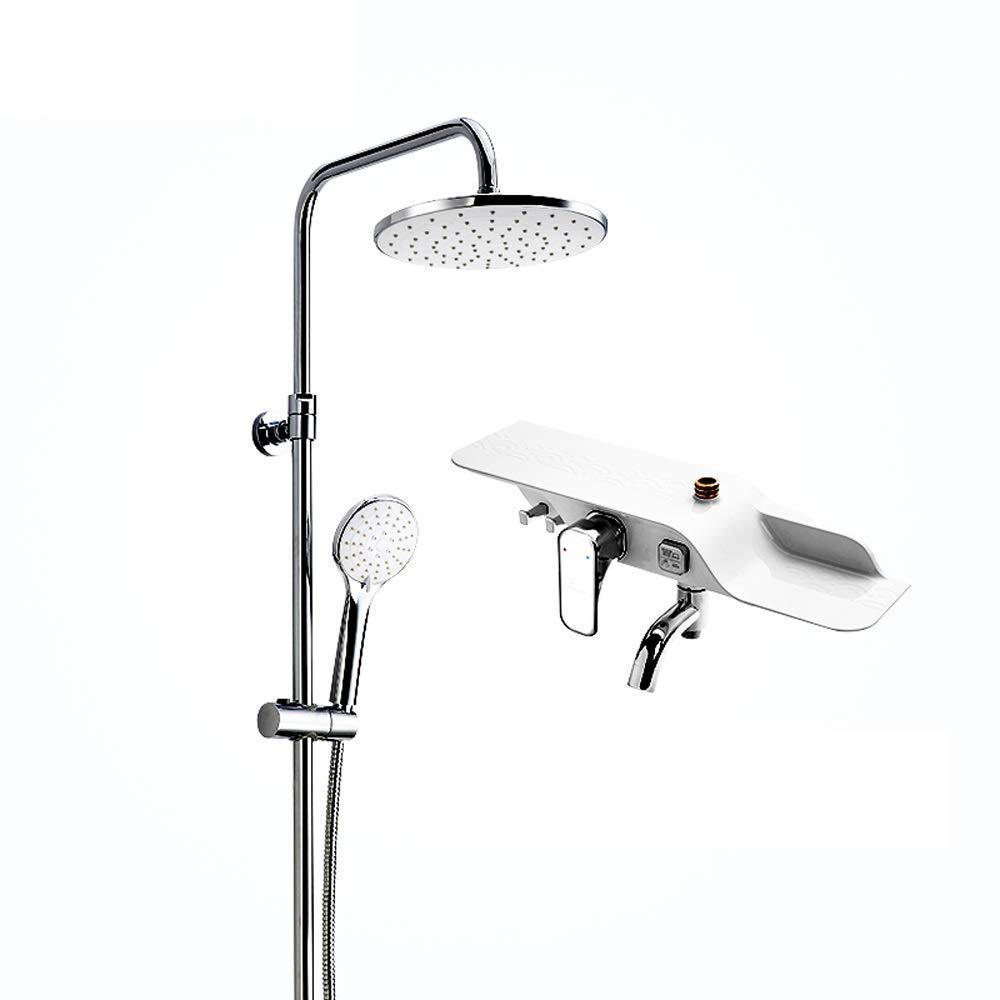 9インチのバスルームのシャワーセット、シャワーヘッド、トップスプレー360度自由回転、スリーウォーターハンドシャワー、ダブル滑り止め効果 B07QYYTX7T