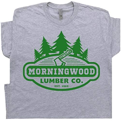XXXL - Morningwood T Shirt Funny Offesive Graphic Tee Lumber Company Men Rude Morning Wood Lumberjack Gray