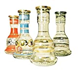 Khalil Mamoon Classic Striped Signature Glass Hookah Vase, Supplies for Hookahs, Bell Shape Base Accessory Parts for Narguile Pipes