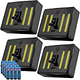 LED Night Light Switch 4 Pack, Kasonic COB Super Bright Technology 400 Lumens; Cordless Emergency Lights; Battery (Included) Operated with Magnetic Sticker for Wardrobe, Camping, Kitchen, Garage