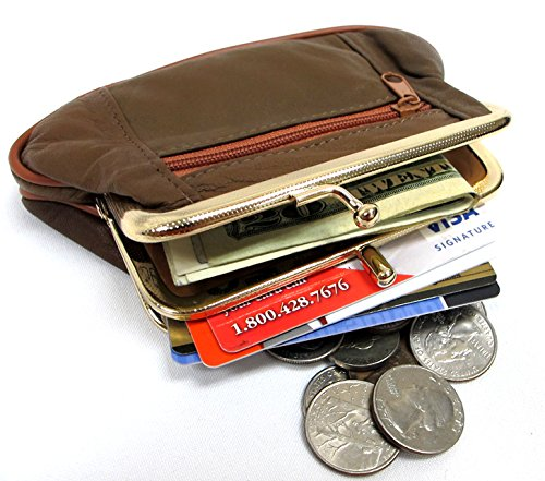 3pc Set Soft Leather Coinpurse Double Snap + Two Zipper - BLACK+BROWN+RED -