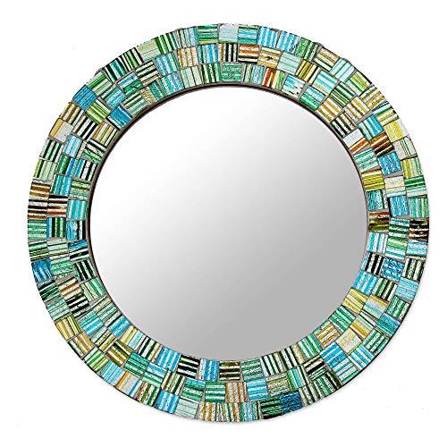 NOVICA MI0043 Aqua Trellis' Glass Mosaic -
