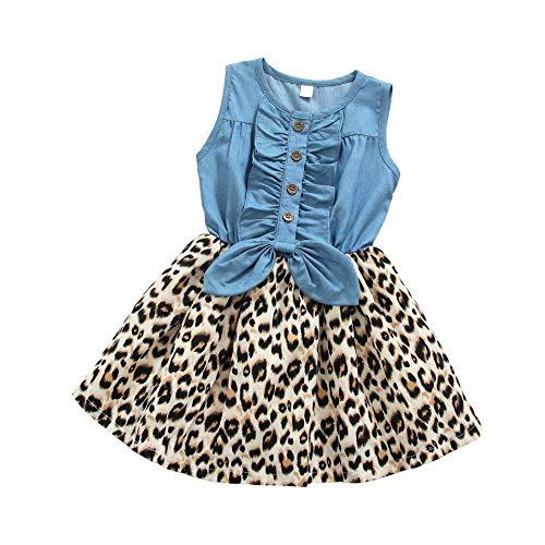MingAo Little Girls Denim Floral Print Sleeveless Skirt Dresses & Long Sleeve, One-Piece (3T(2-3Years), Leopard Print)