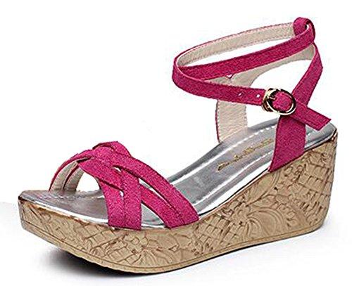 Chfso Dames Trendy Solide Suède Open Teen Gesp Enkelbandje Middelste Sleehak Platform Sandalen Rose Rood