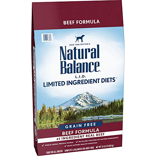 - Natural Balance Limited Ingredient Diets Dry Dog Food, Beef Formula, Grain Free, 24 lb
