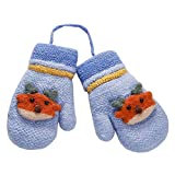 Cute Deer Kids Warm Knit Gloves Plush-Lined Mittens with String, 16