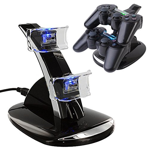 HDE Playstation PS3 Controller Charger Station Power Stand 2 Port USB Charging Hub for Sony PS3 Dual Shock Wireless Controllers