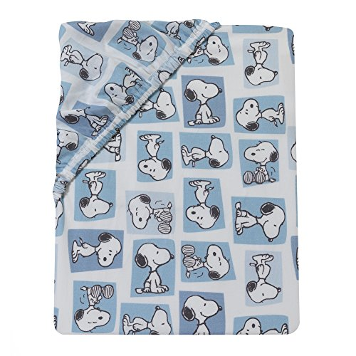Bedtime Originals Peanuts Forever Snoopu Fitted Crib Sheet, Blue/White (Crib Separates Bedding)