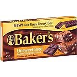 Bakers Unsweetened Baking Chocolate Bars 113g (4oz)