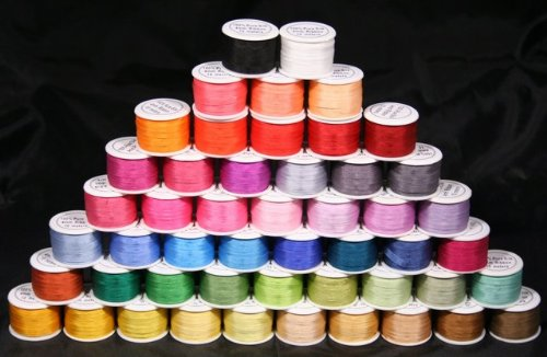 New ThreadNanny 50 Spools of 100% Pure Silk Ribbons - 4mm x 10 Meters - 50 Colors no Duplicates ()