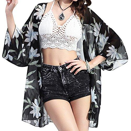 CHERRY CAT Women See through Kimono Cardigan Swimsuit Cover Up Bohemia