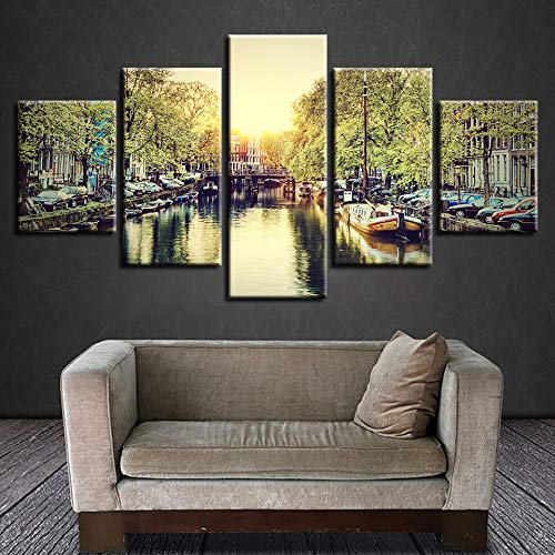 SHUII Canvas Pictures Home Decor Wall Art Frame 5 Pieces Amsterdam City Scenery Paintings Modular HD Prints Summer Canal Boat Posters 20x35cm 20x45cm 20x55cm