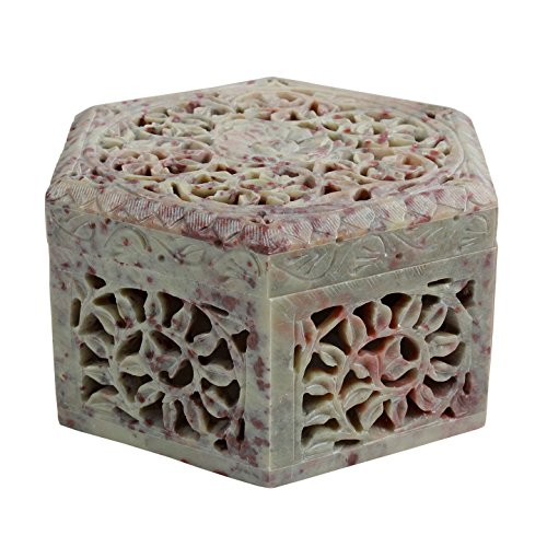 Store Indya Soapstone Box Hand Carved Design Home Jewelle...