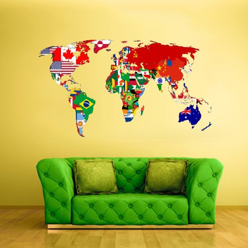 Full Color Wall Decal Mural Sticker Decor Art World Map Banners Flag Countries Paintings - Vinyl Full Banner Colour