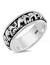 Elephant Spinner Eternity Wedding Ring New .925 Sterling Silver Band Sizes 4-14