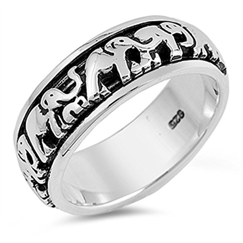 Elephant Spinner Eternity Wedding Ring New .925 Sterling Silver Band Size 10