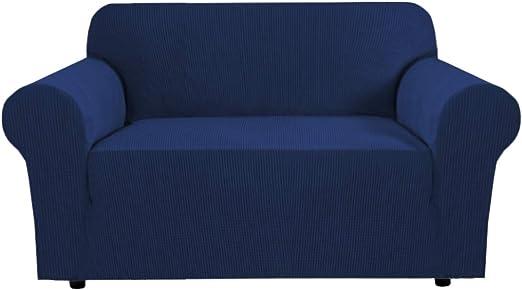 Image ofBellaHills Fundas de sofá elásticas Fundas de Asiento de Amor de 2 plazas para Sala de Estar Fundas de sofá Fundas con Fondo elástico, Tela Jacquard Gruesa Suave Lavable (2 plazas, Azul Marino)