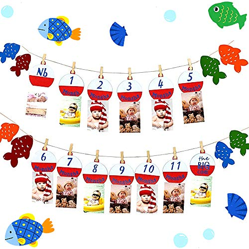 JeVenis 12 Month Fishing Photo Banner Fishing Theme Photo Banner 12 Month Photo Banner The Big One Fishing Birthday Decoration 1st birthday decoration