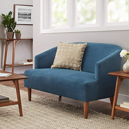 Better Homes and Gardens Teal Reed Mid Century Modern Loveseat, Features a Beautiful Curved Back Plush Bench Seat And Tapered Solid Wood Legs, Dimensions: 31.00''L x 48.00''W x30.00''H by Better Homes and Gardens
