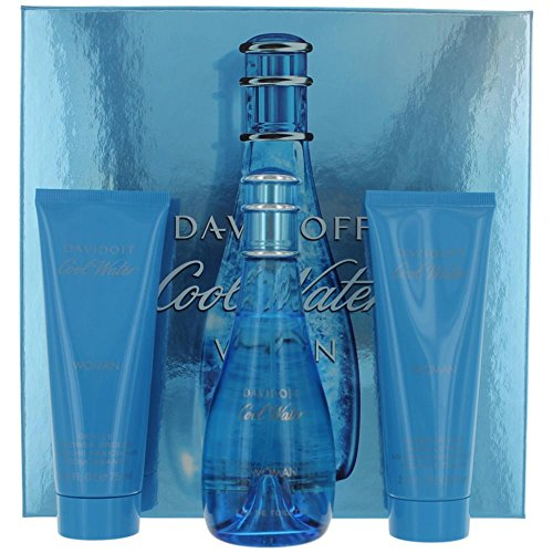 Cool Water by Zino Davidoff for Women - 3 Pc Gift Set 3.4oz EDT Spray, 2.5oz Gentle Shower Breeze, 2.5oz Moisturizing Body Lotion