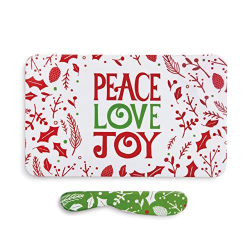 Peace Love Joy Winter White 10 x 6 Melamine Christmas Tray and Spreader - Set Spreader Christmas