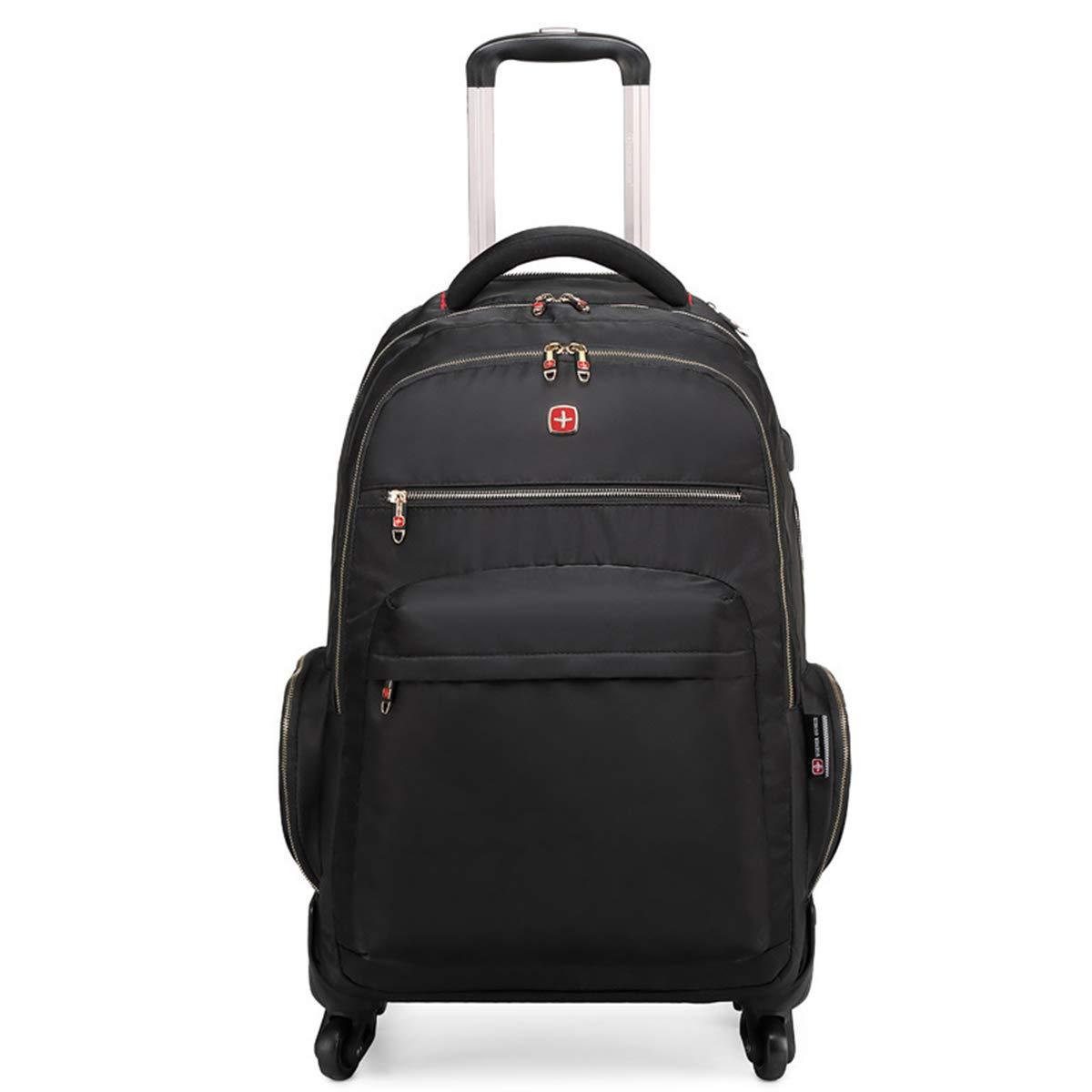 ビジネス搭乗スーツケース、ファッションカジュアル学生男性と女性オックスフォード布ライトトロリーバックパックケース屋外大容量旅行荷物で車輪,black,20inches B07RBKLH49 black 20inches
