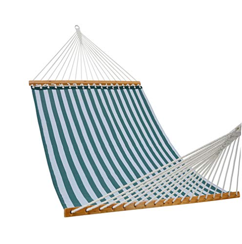 PATIO GUARDER 14 FT Portable Hammock with Double Size, Quick Dry Hammock with Solid Bamboo Spreader Bar and Chains, Outdoor Patio Yard Beach Hammock, UV Resistance, 450 Lb Capacity, Stripe Green