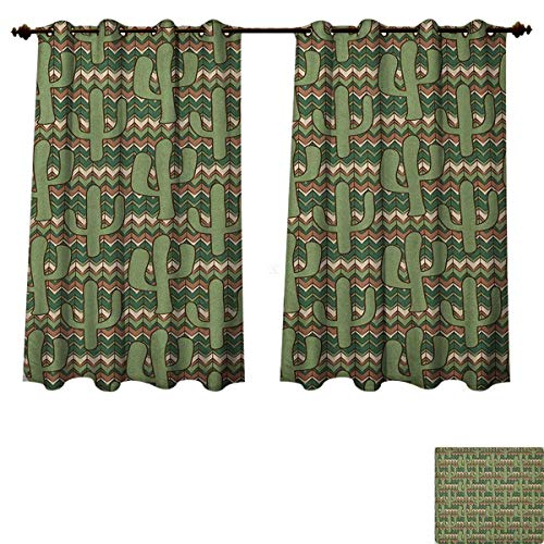 PriceTextile Cactus Blackout Thermal Curtain Panel Cartoon Style Saguaro Cactus Figures on Ethnic Zigzag Stripes Background Patterned Drape for Glass Door Green Pale Brown Beige Size W72 xL45