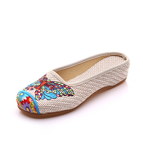 WXT Zapatos bordados, lenguado de tendón, estilo étnico, flip flop femenino, moda, cómodo, sandalias beige