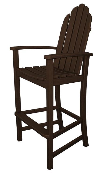 POLYWOOD Adirondack Bar Height Chair, Mahogany
