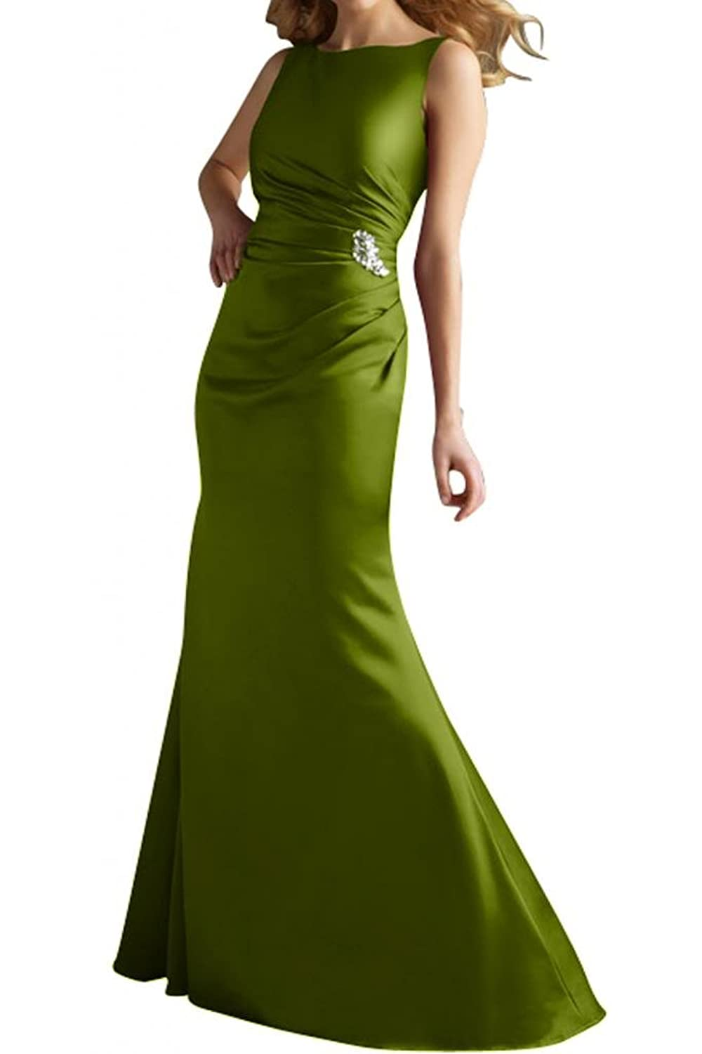 Gorgeous Bride Bateau Rhinestone Sheath Trumpet Sexy Satin Evening Dresses