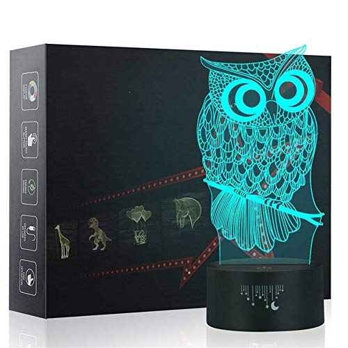 Owl 3D Night Light,Metplus Kids Room Decor Bedside Lamp 7 Colors Change LED Illusion Table Desk Lamps Touch Sensor USB for Children Xmas Birthday Gift