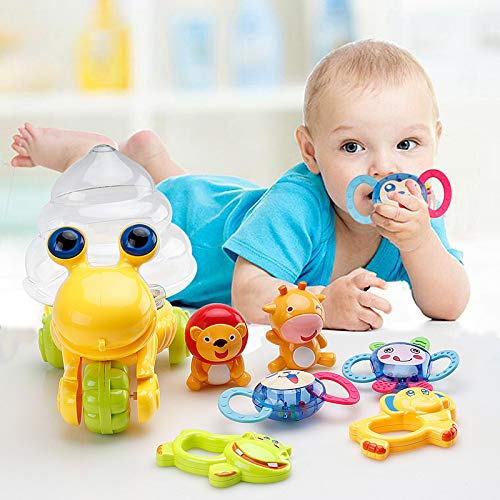 (HANMUN Teether Rattle Musical Instruments Chritsmas Gift Shaker Grab and Spin Rattle Set with Snail Storage Box Toys for 0,3,6,9,12 Month Old Baby Infant Newborn Boy Girl ¡­)
