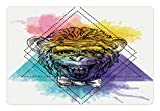 Ambesonne Sketchy Pet Mat for Food and Water, Funny Monkey Animal with a Bowtie on Geometric Artistic Watercolor Style Backdrop, Rectangle Non-Slip Rubber Mat for Dogs and Cats, Multicolor