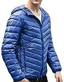 ARRIVE GUIDE Mens Zipper Pocket Hooded Puffer Down Jackets Winter Coats Jewelry Blue XL