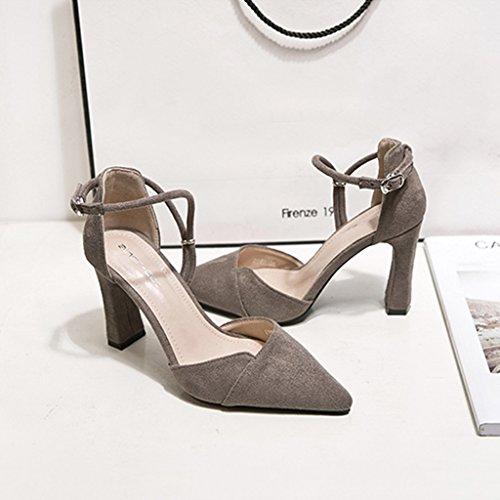 ALUK- Damenschuhe - Europa und die Vereinigten Staaten High Heels wild spitz dick mit einem einzigen Schuhe sexy Damenschuhe ( Farbe : Rot , größe : 34-Shoes long220mm ) Bean Shake
