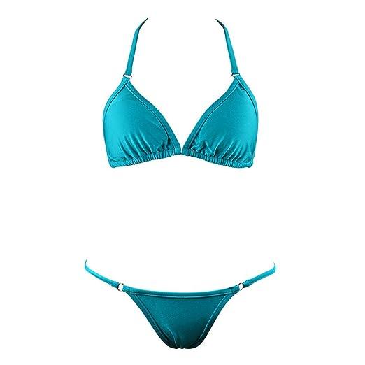 2f832c5eadce6 ASTV Women s Sexy Swimsuit Solid Swimsuit Adjustable Sling Bikini Swimwear  Beachwear Sky Blue