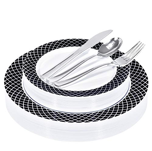 125 Piece Elegant White & Black Disposable Plates with Silver Plastic Utensils - 25 Dinner Plates, 25 Appetizer Plates, 25 Silver Forks, 25 Silver Spoons, 25 Silver Knives (Black/White Rim)