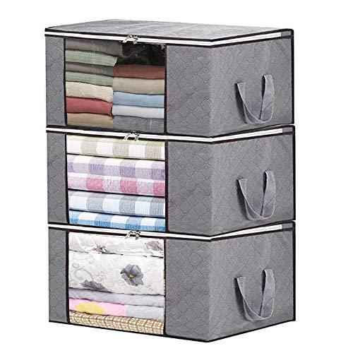 Storage Bag Organizers,Clothing Organizer Bags, Foldable Storage Zipper Bag Large Durable Closet Storage Boxes Case Container for Dresses Quilt Season Items Storage (Grey+3 Piece)