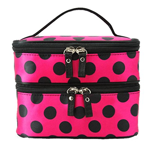 Hatop Double Layer Cosmetic Bag Travel Toiletry Makeup Bag (Hot Pink) - Replica Makeup